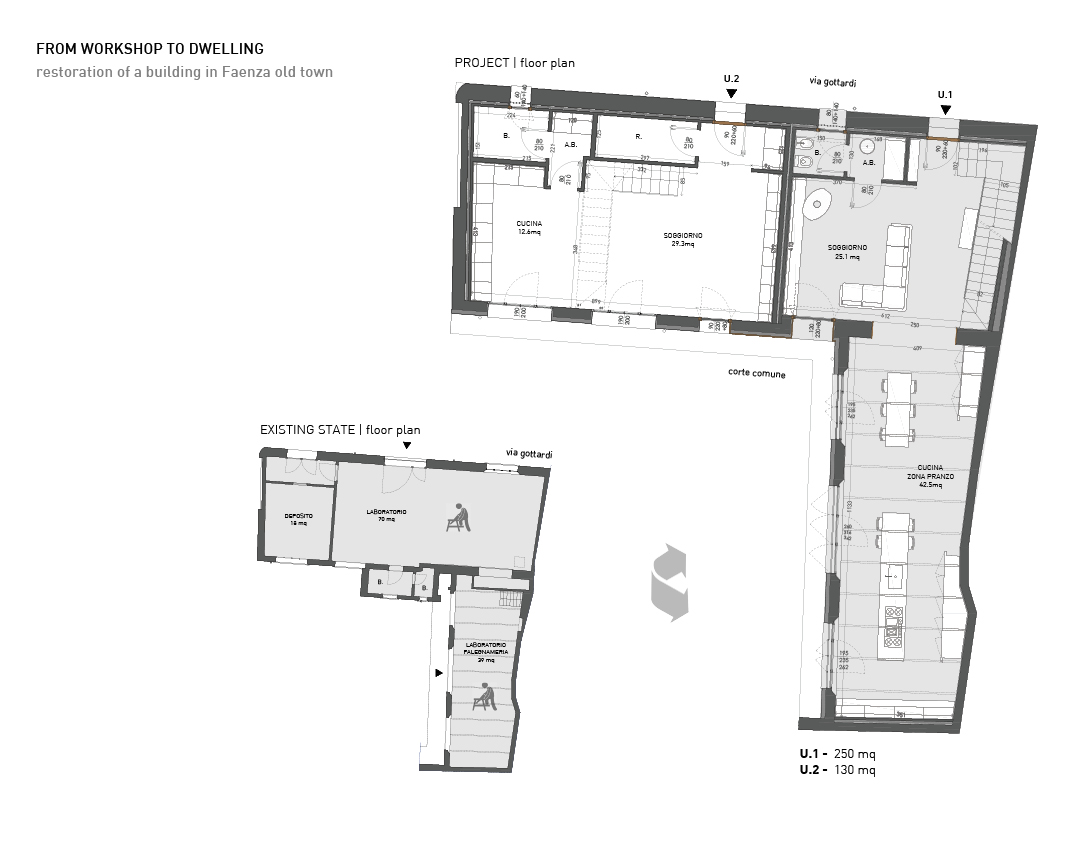 From workshop to dwelling: floor plan Alessandro Bucci Architetti}