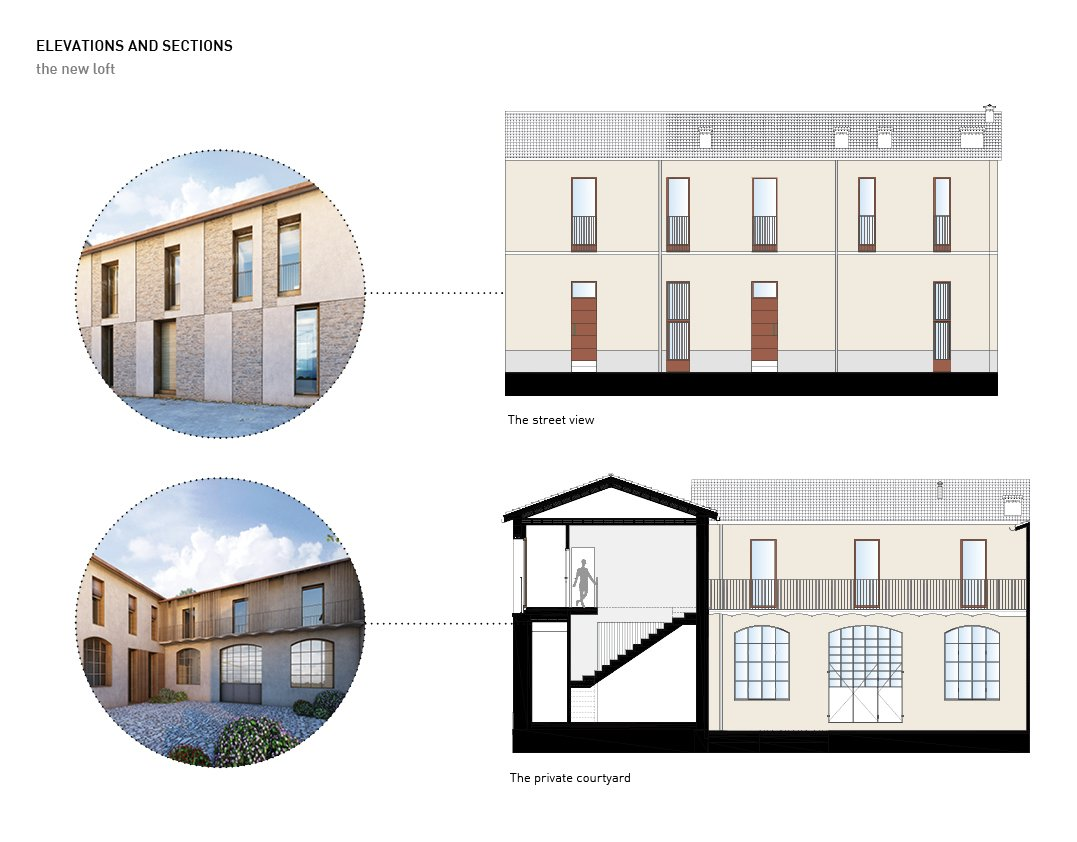 Elevations and sections Alessandro Bucci Architetti}