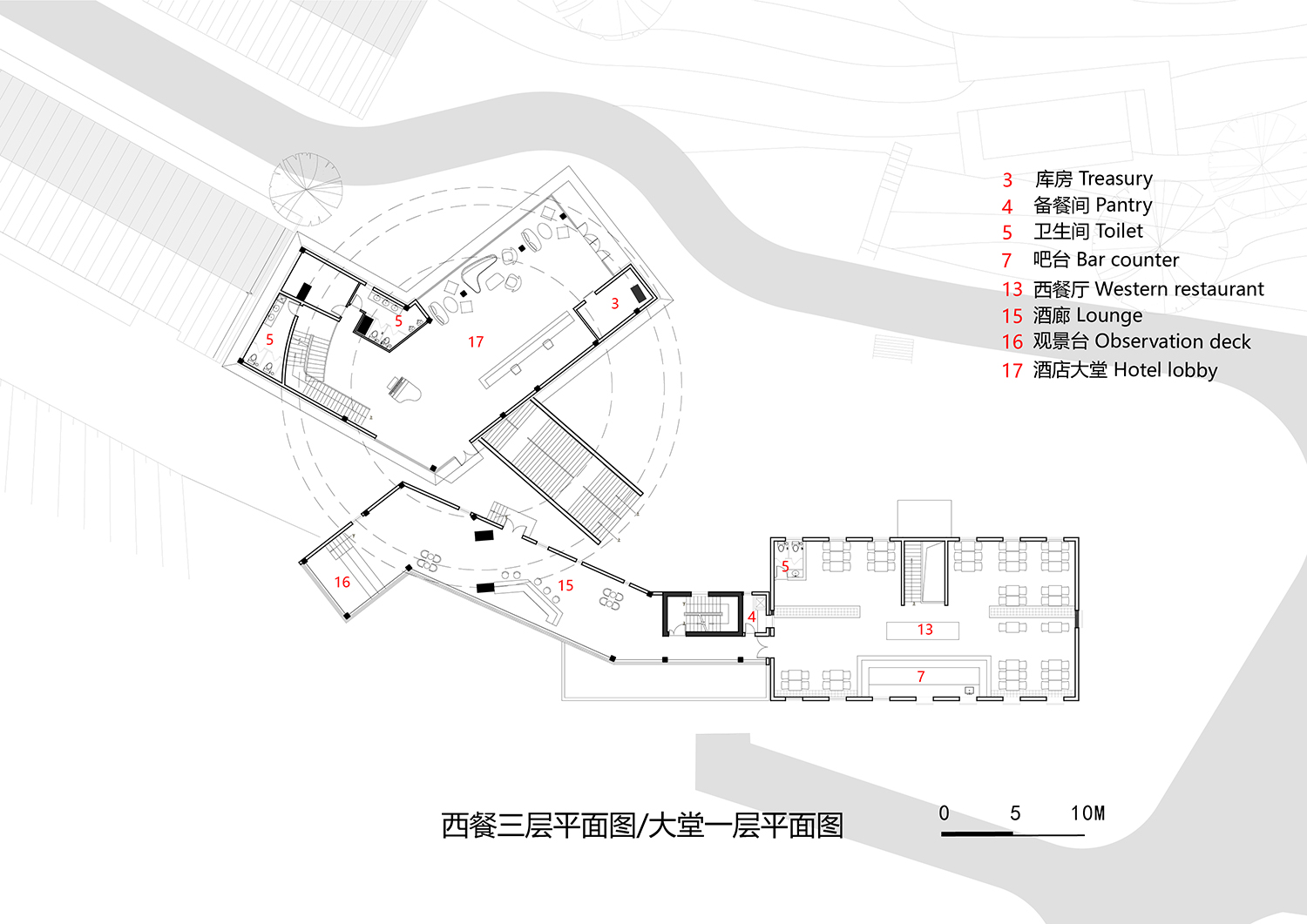 02-Plan of the 1st floor of lobby and the third floor of western restaurant 3andwich Design}