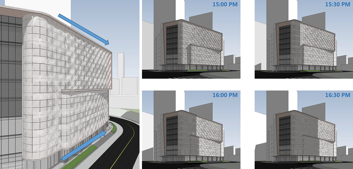 Analysis of changing visual effects of the curtain wall throughout the day Shanghai PTArchitects}