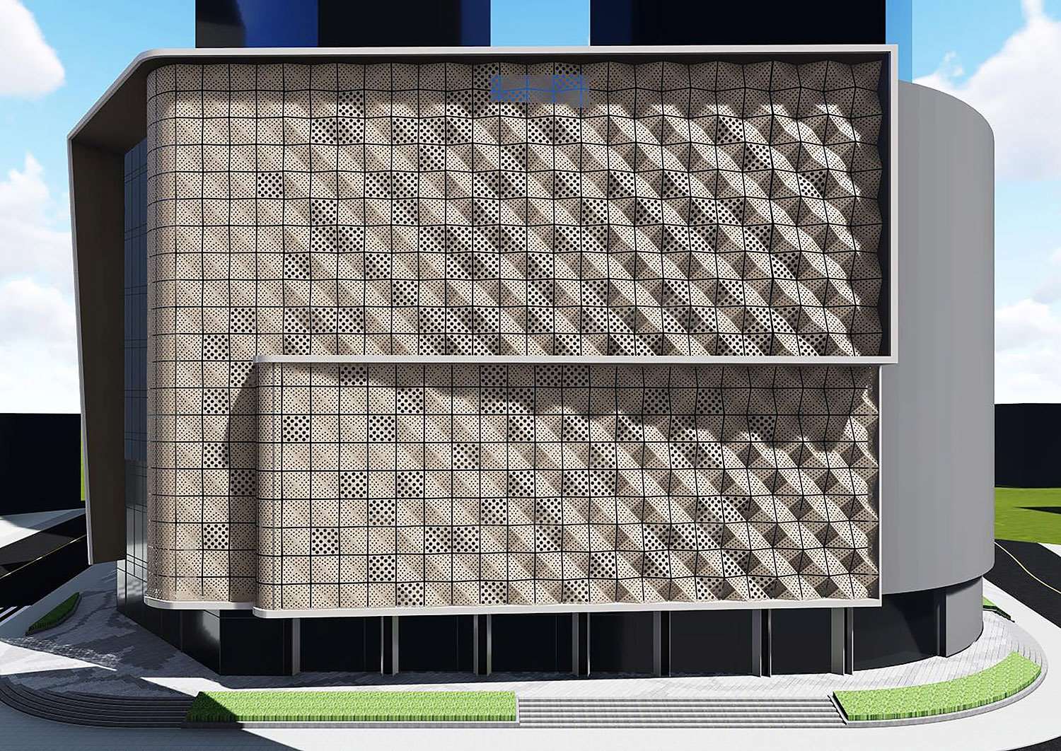 Analysis of new exterior textures formed by perforated panels Shanghai PTArchitects}