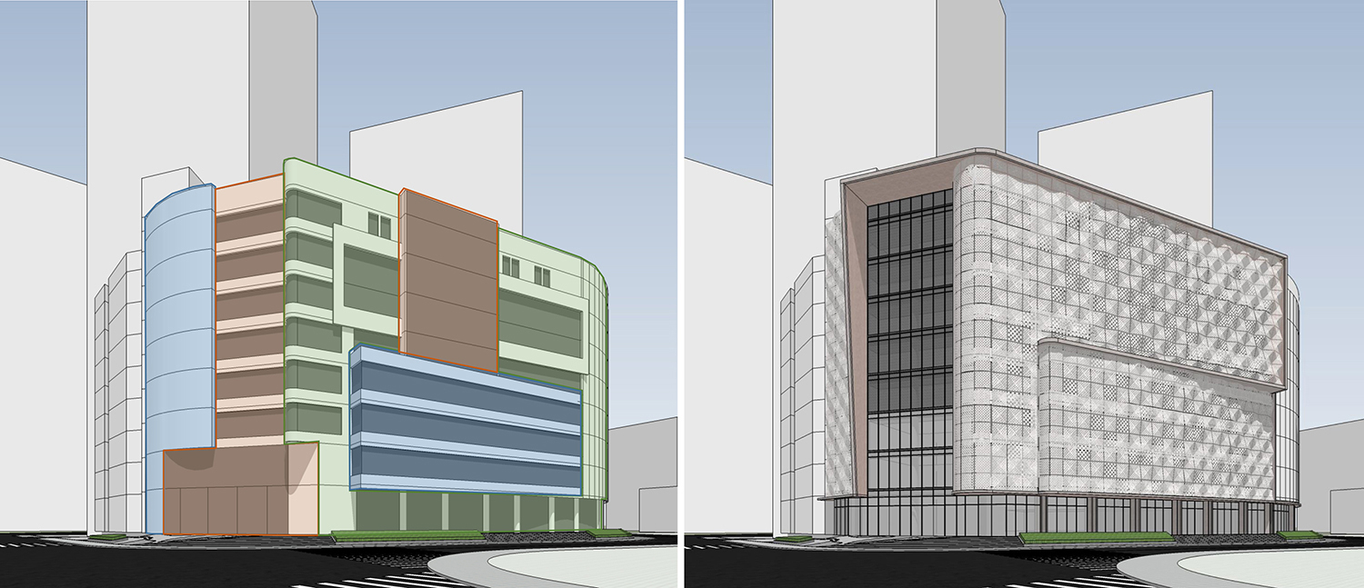 Before and After handing the curtain wall Shanghai PTArchitects}