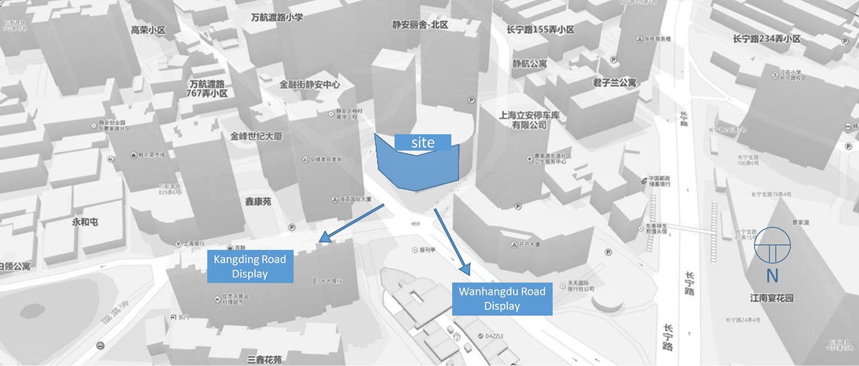 Diagram - Main surrounding streets Shanghai PTArchitects}