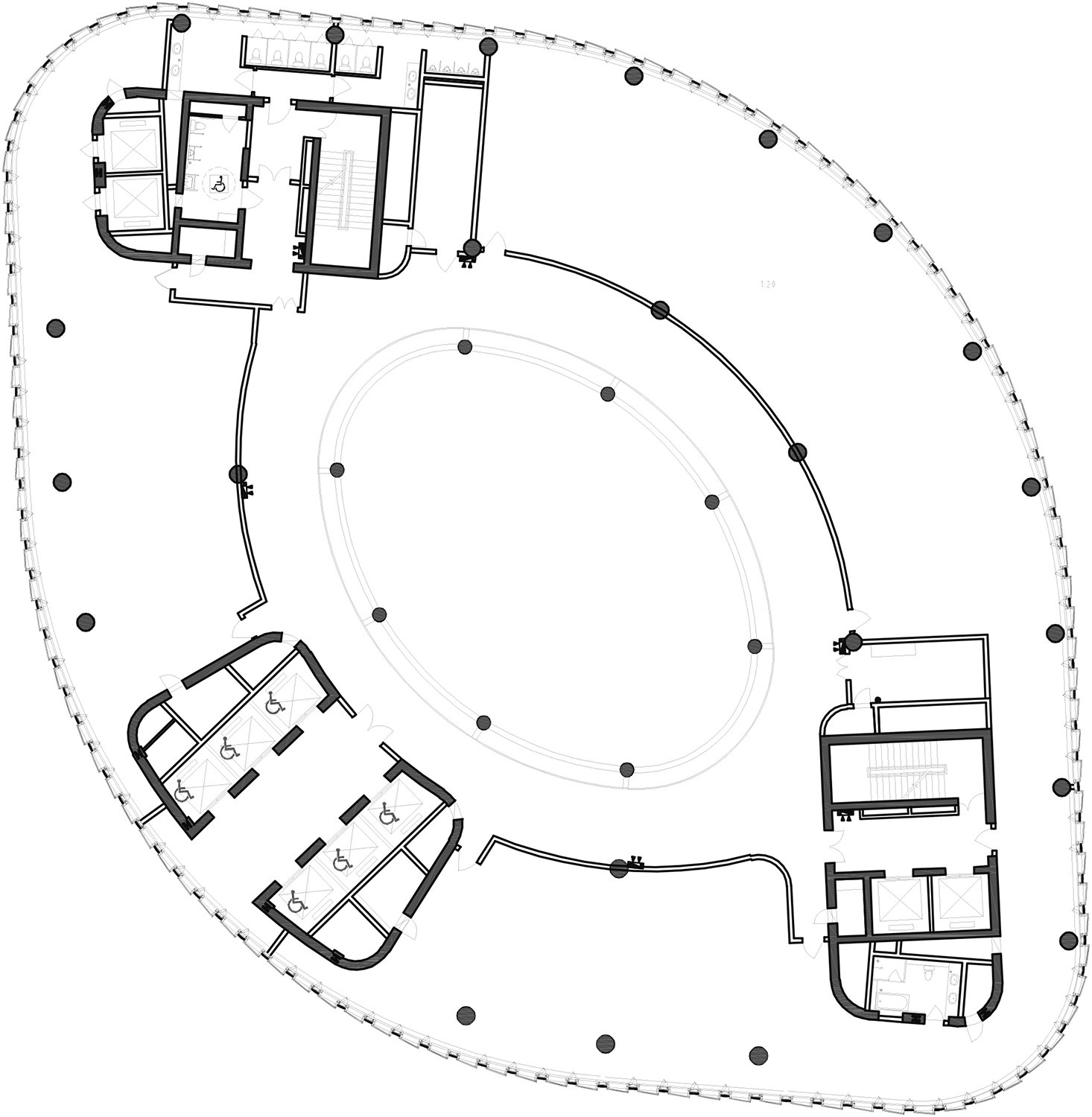 16th Floor Plan The Architectural Design & Research Institute of Zhejiang University; Architects von Gerkan, Marg and Partners (gmp)}