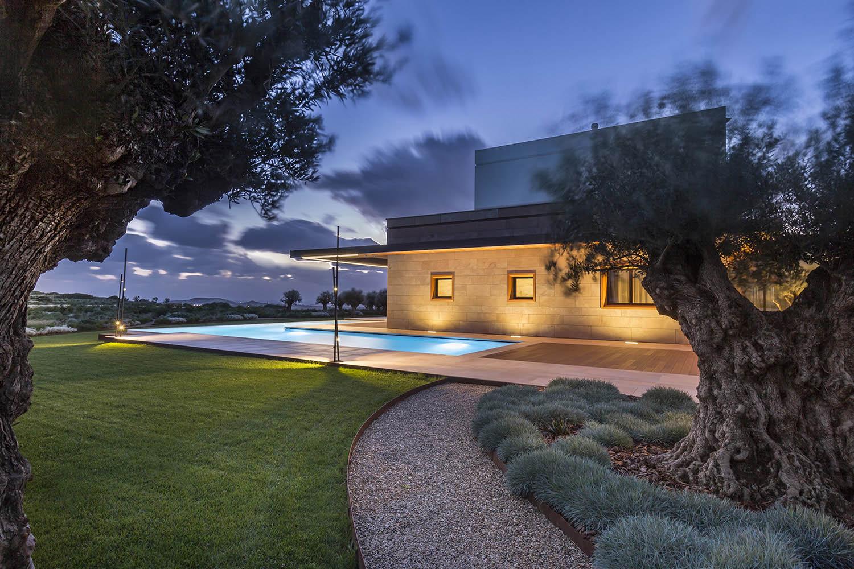 View of the villa from the surrounding mediterranean garden Ales & Ales, Cagliari