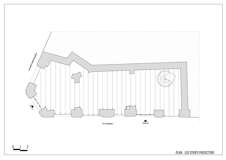 "Plan - 'Exoskeleton"" projections Arch. Tommaso Zanini / d+d Group}"