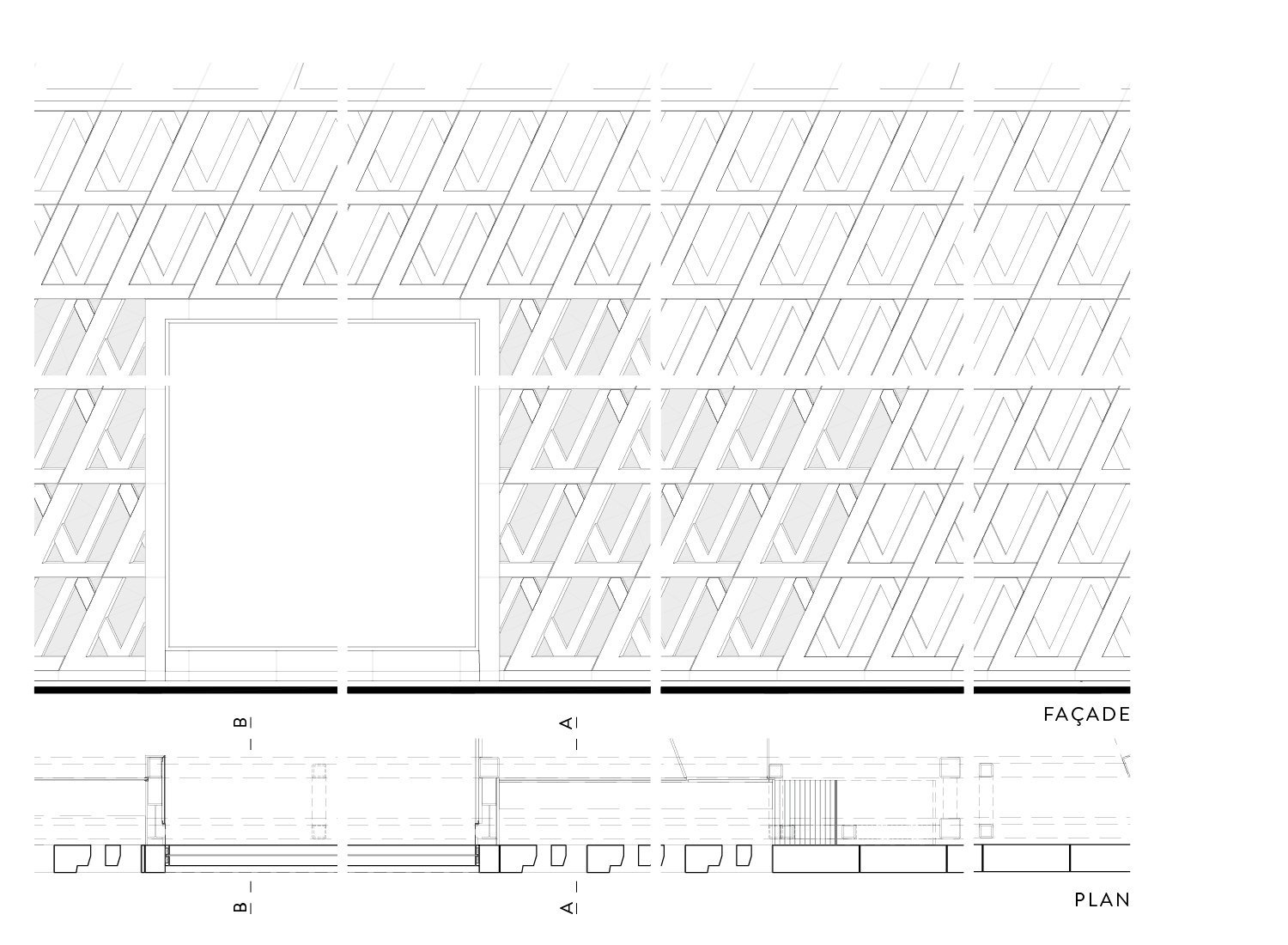 Section of the plan & facades Materia}