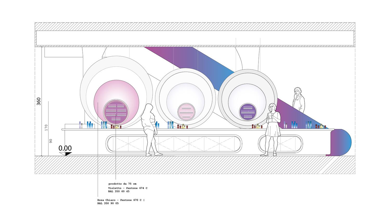 piano primo: ring e bancone display prodotto FUD | Lombardini22}