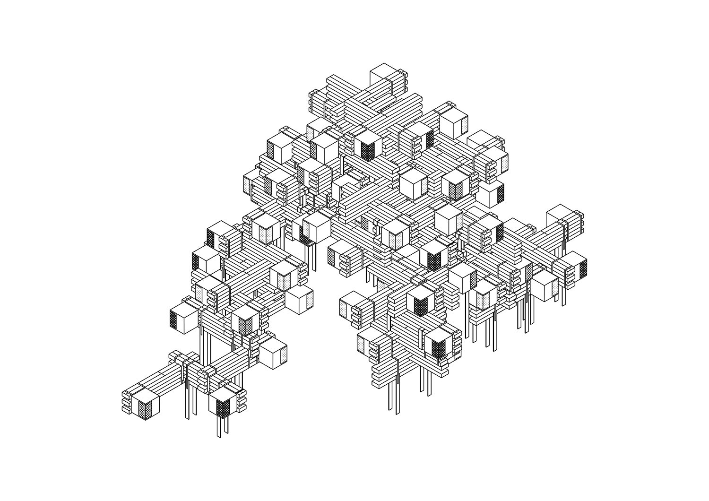 Axonometric scheme of the installation Plasma Studio}