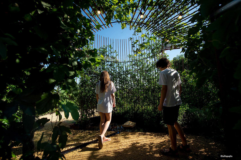Interno di Come back to Itaca dopo 6 mesi: vista sul centro del giardino Tullio Puglia