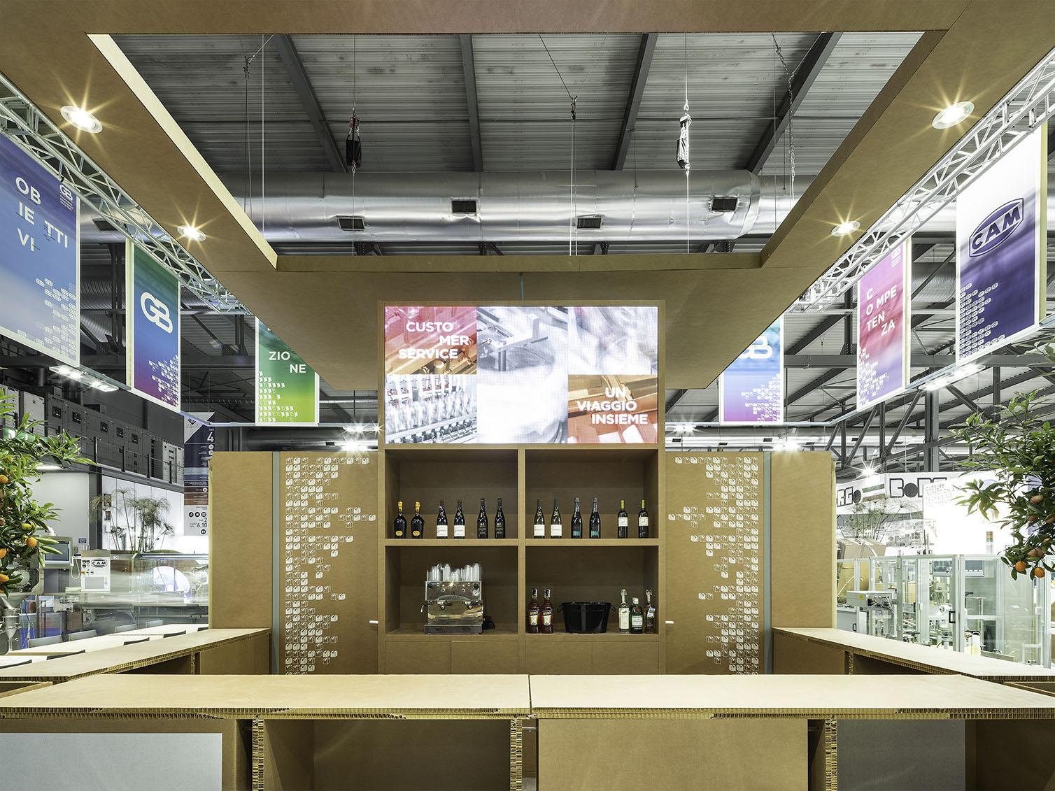 Inner Lounge Bar_ Hanged Cardboard Panels filippo poli