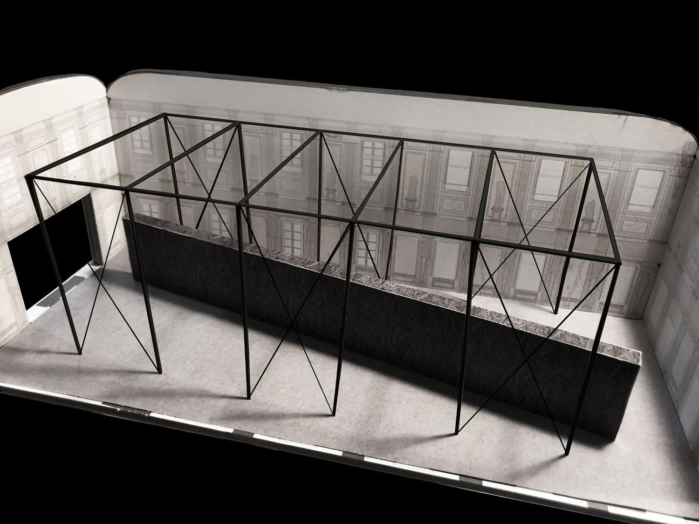 Modello di studio della Sala delle Cariatidi: il muro e la struttura Alvisi Kirimoto}