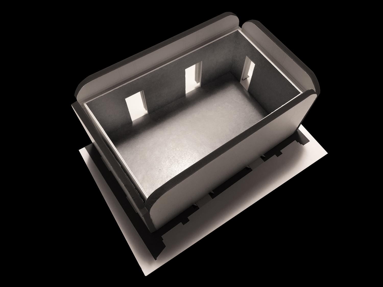 Modello di studio della Sala del Buffet: la scatola neutra Alvisi Kirimoto}