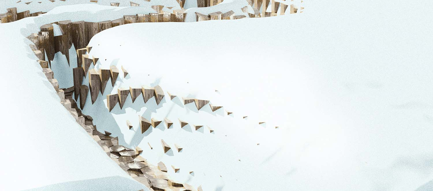 Study: transformation of abstracted landscapes with snow Snøhetta}