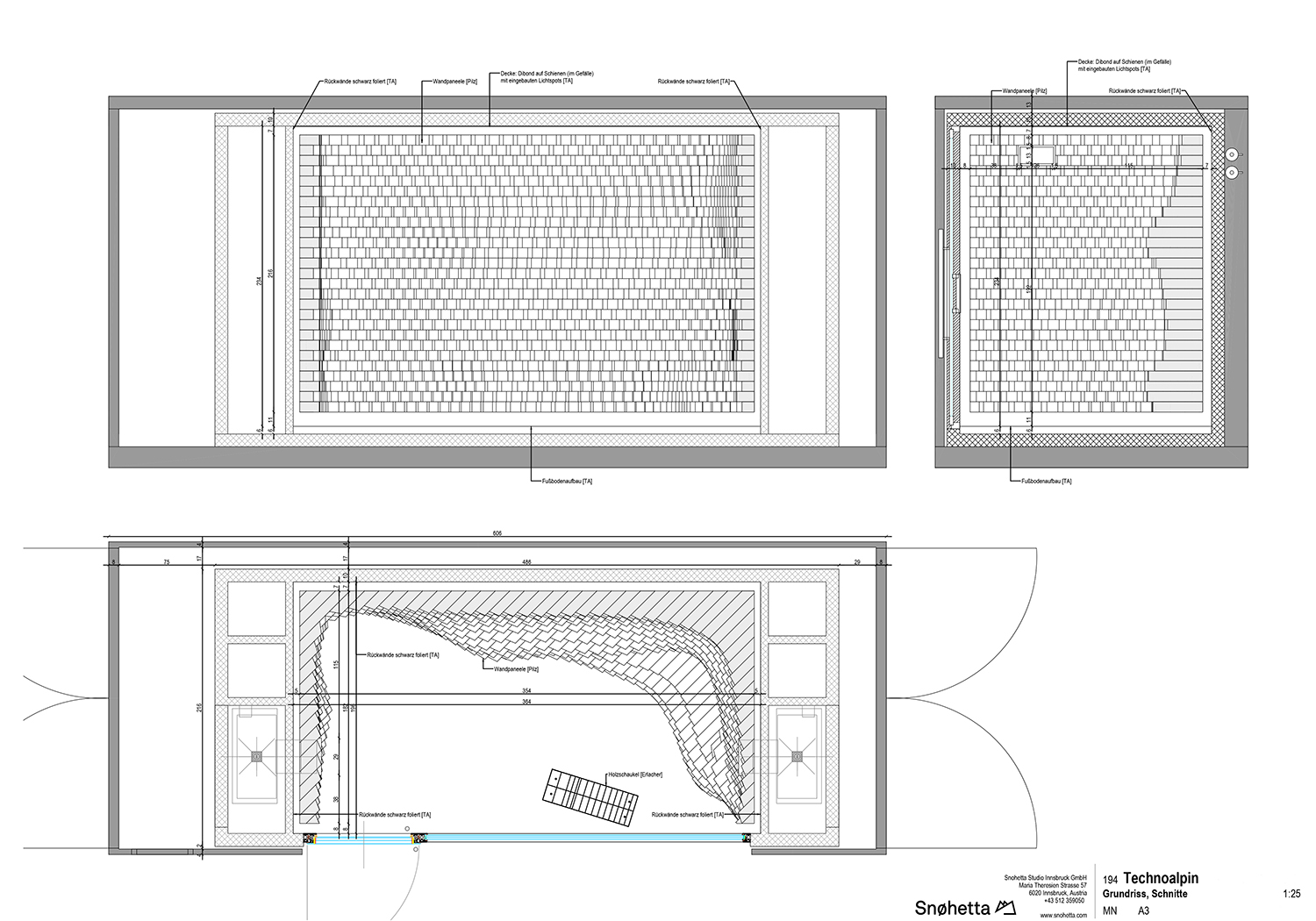Snow Room: plan and section Snøhetta}