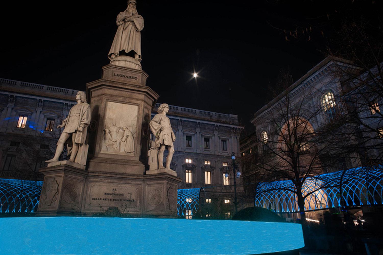 Sotto il soffitto della Scala - Dettaglio led wall attorno alla statua di Leonardo Da Vinci Engie Italia S.p.A.