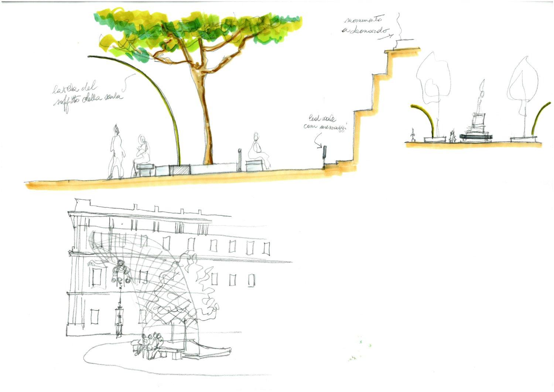 Sotto il soffitto della Scala - Disegni a mano di progetto I-DEA S.R.L. - Arch. Lorenza Golinelli}
