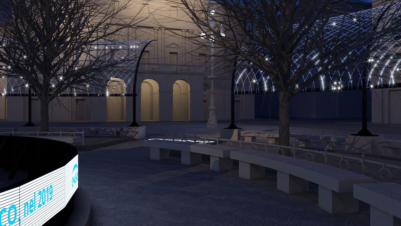 Sotto il soffitto della Scala - Render di progetto, vista da led wall I-DEA S.R.L.}