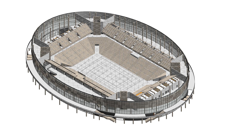Kigali Arena axonometric Yazgan Design Architecture}