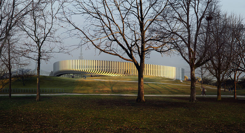 The asymmetrical shape and the height of the arena are informed by the site's characteristics, and the organic, light and playful form mirrors the gently undulating curves of the landscape. 3XN