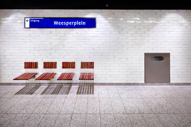 Hardwood seats Weesperplein DigiDaan