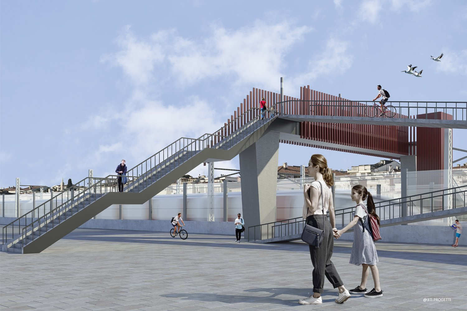 OVERPASS WITH RAMP AND STAIRS 3TI PROGETTI