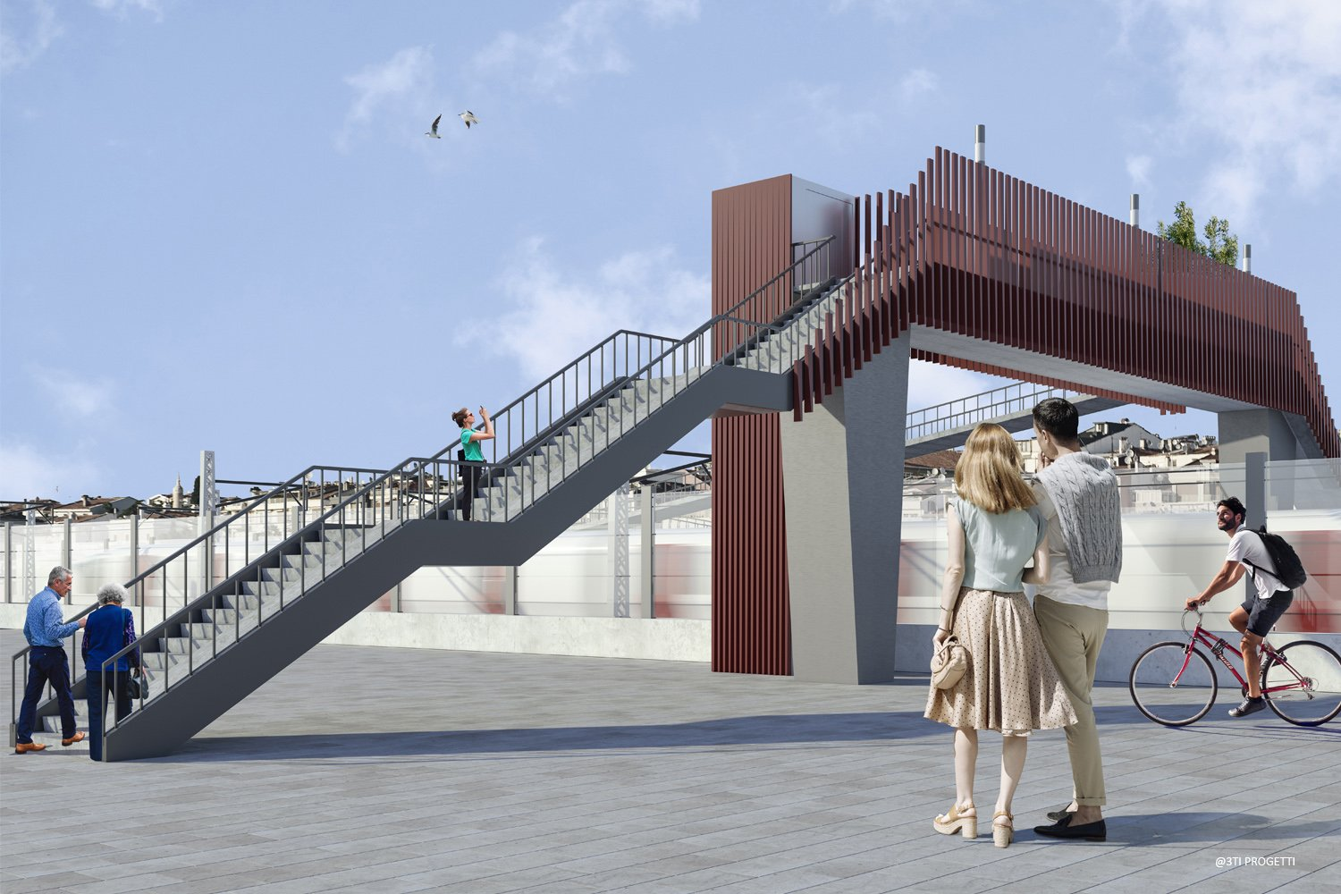 OVERPASS WITH STAIRS AND ELEVATOR 3TI PROGETTI