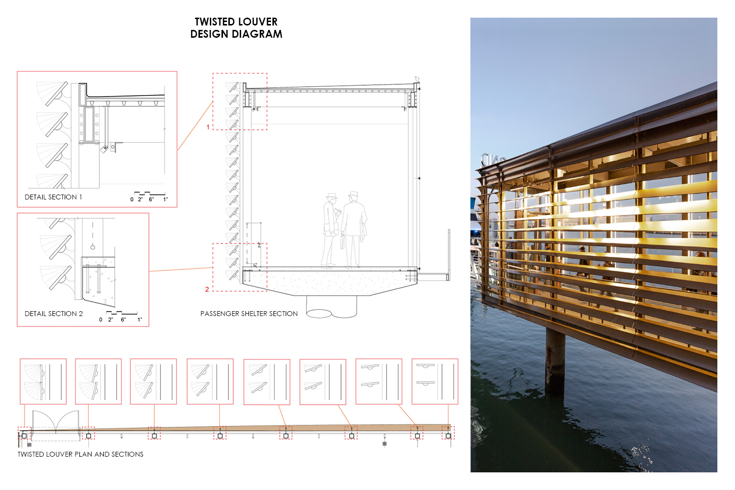 Details for the custom designed and fabricated twisted louver system. Drawing by Marcy Wong Donn Logan Architect; photograph by Billy Hustace.}