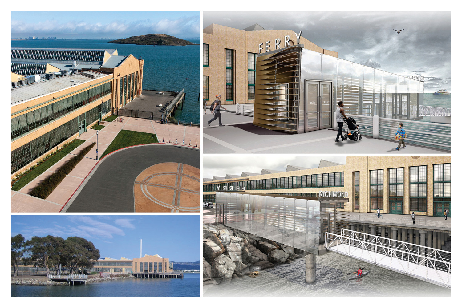 Photographs of the site before the ferry terminal project, and renderings from the design process. Renderings by Marcy Wong Donn Logan Architects.}