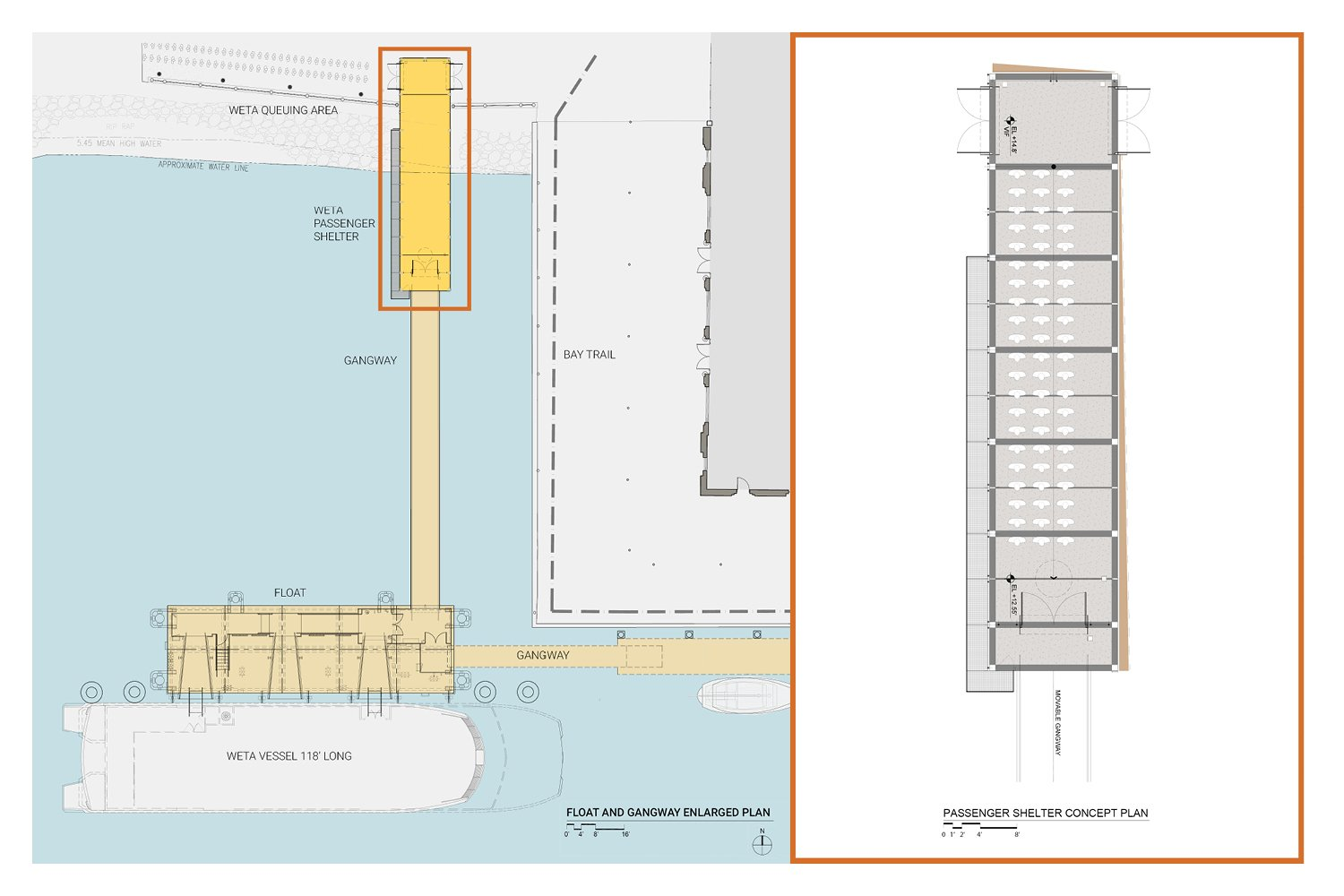 Enlarged site plan and passenger shelter floorplan. Marcy Wong Donn Logan Architects}