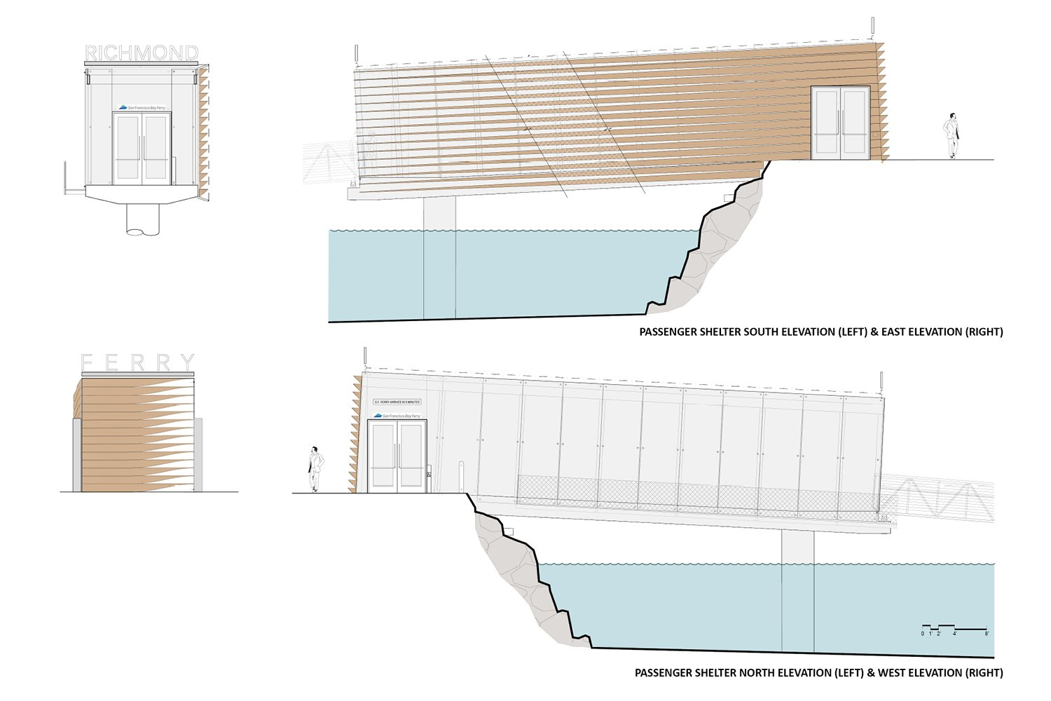 Ferry terminal elevations. Marcy Wong Donn Logan Architects}