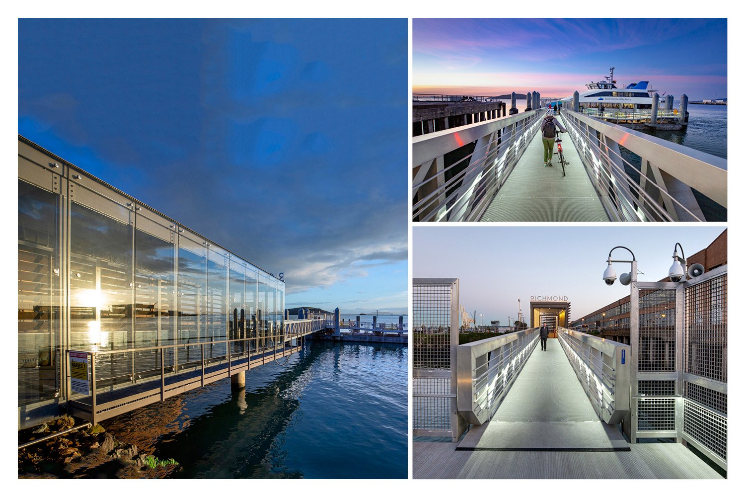 At left, birdsafe glazing gives passengers sweeping view while protecting them from wind and rain. At right, the fully accessible gangway. Photographs by Billy Hustace}
