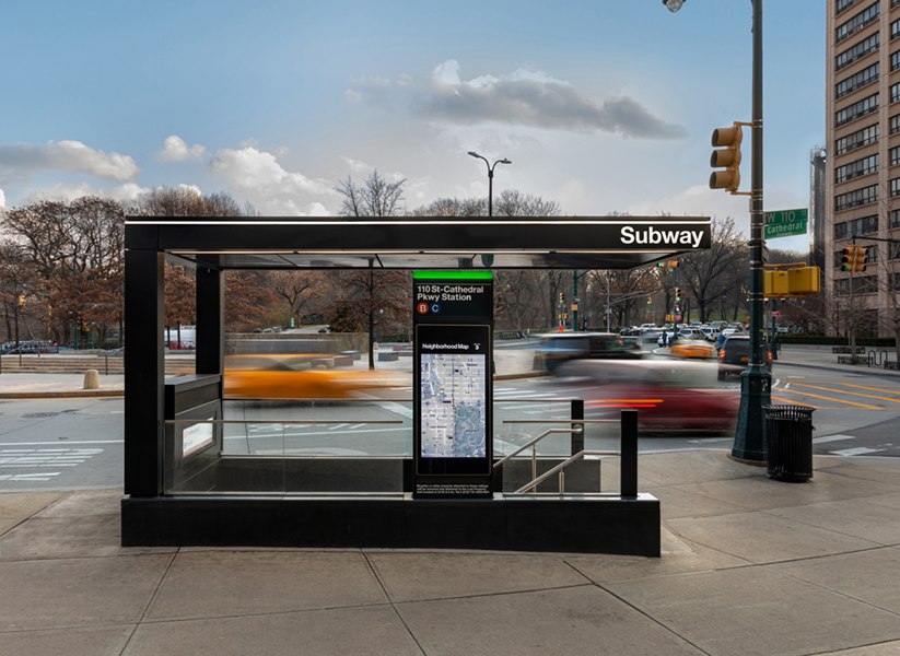 New entry canopies serve to increase the on street presence of both subterranean and elevated stations, making a positive contribution to the public realm at street level. David Sundberg