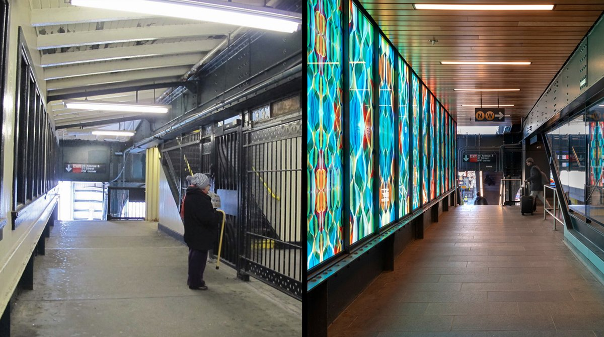 Left: before.  Right. After. Visual de-cluttering improves station legibility and clarity of system navigation, here at the mezzanine level. Robust finishes are used for ease of maintenance. Left: Grimshaw. Right: David Sundberg