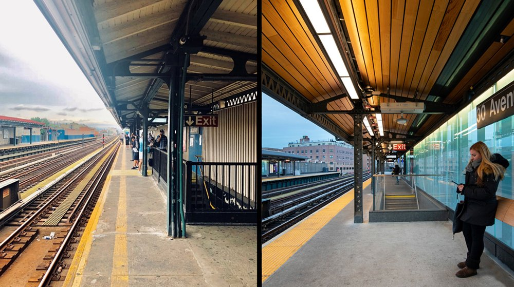 Left: before. Right: after. Significant repairs to the steel structure and platform concrete were made to achieve a state of good repair while new technology amenities provide information. Left: Grimshaw. Right: David Sundberg