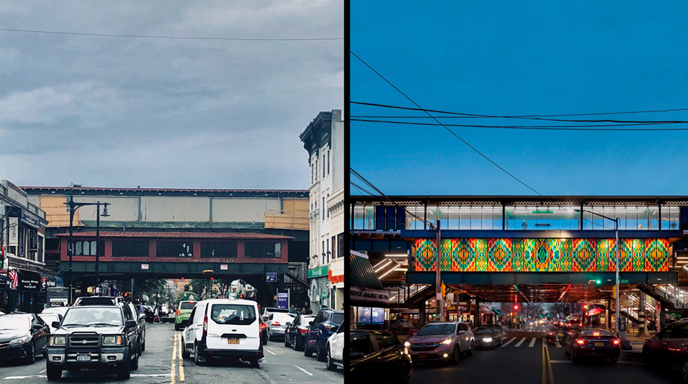 Elevated Station in Astoria, Queens, NY. Integration of art and architecture with art panels as the exterior walls, elevates the public art to the scale of the infrastructure. Left: before. Right: after. The colourful public art commission brings distinct Left: Grimshaw, Right: David Sundberg
