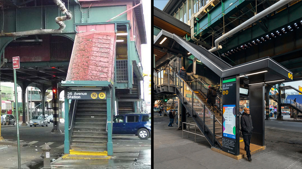 Left: before.  Right: after.  New entrance canopies and totems improve visibility, safety and street presence through a design that highlights NYC Transit's Unimark graphic identity system. Left: Grimshaw. Right: after