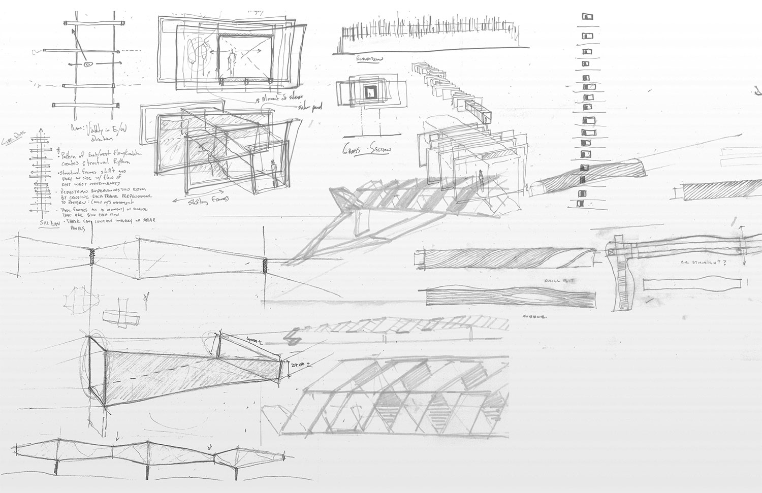 Initial design sketches of the Pickering GO Pedestrian Bridge. Teeple Architects}