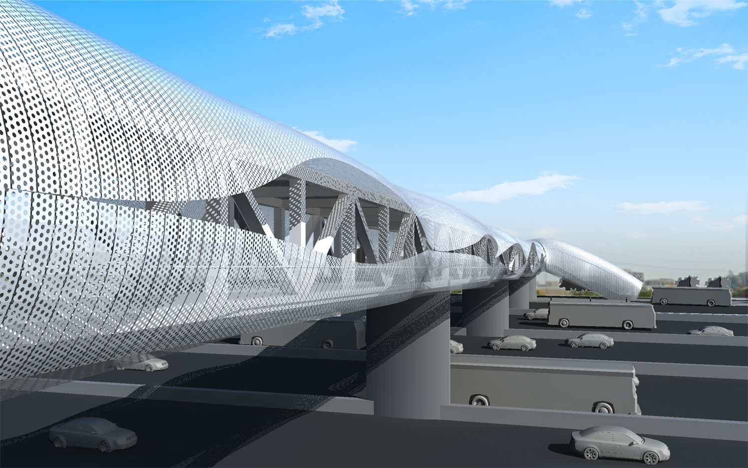 Render of the Pickering GO Pedestrian Bridge. Teeple Architects}