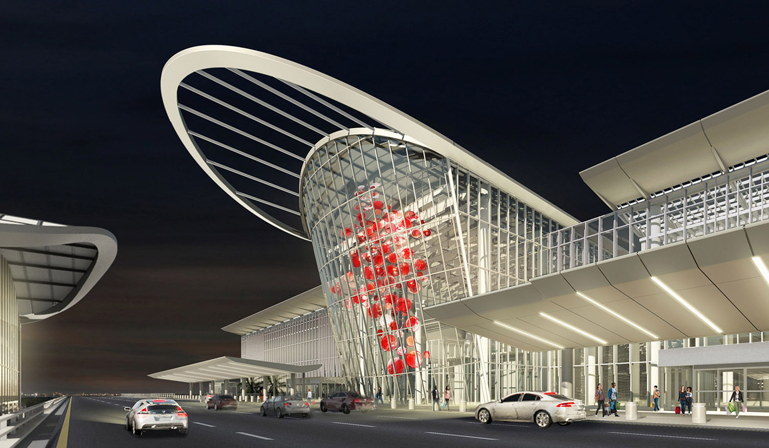The new South Terminal Complex establishes Orlando as a travel destination. Fentress Architects}
