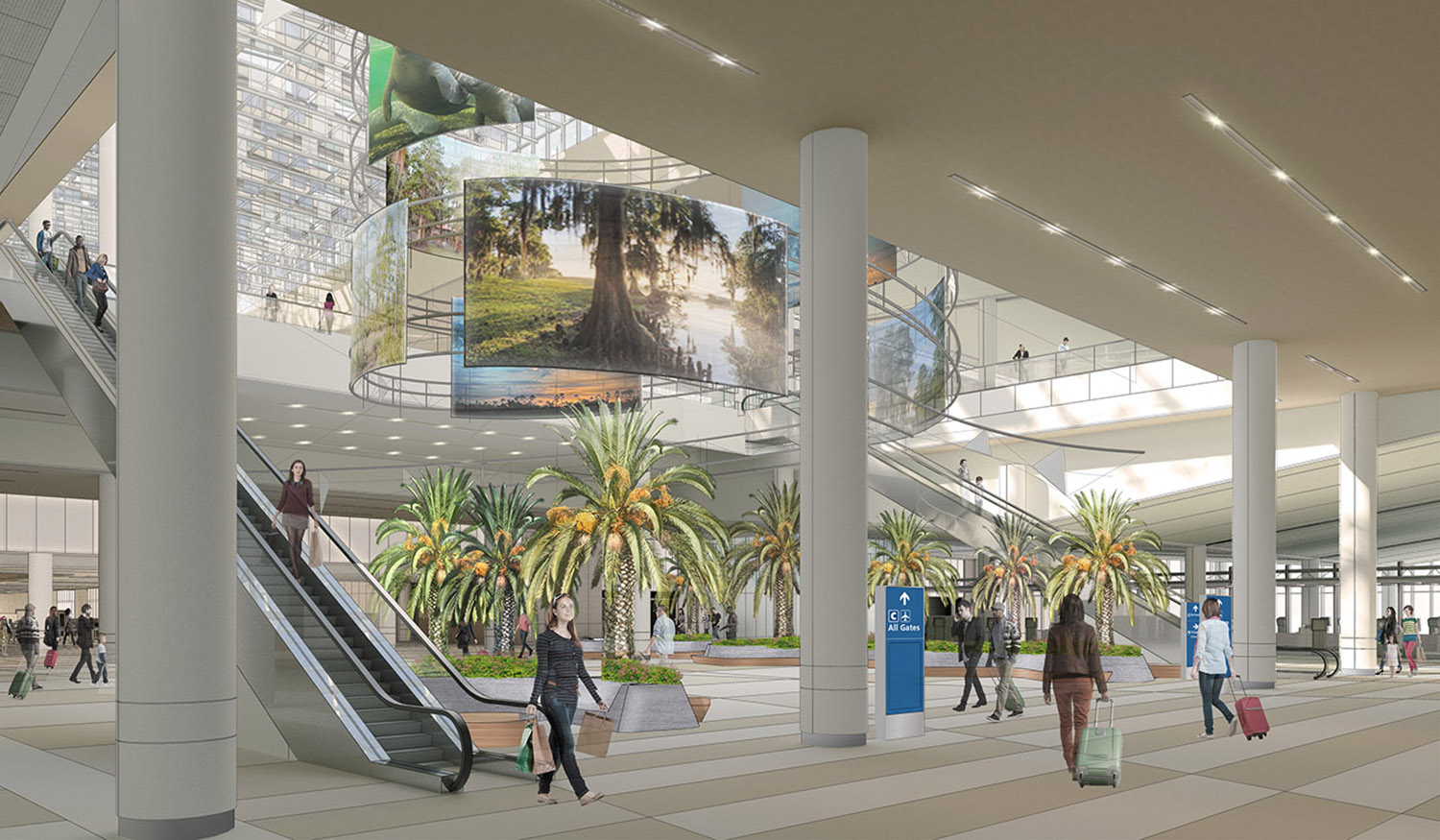 Media screens in the Town Square display images of Central Florida, creating a unique sense of place. Fentress Architects