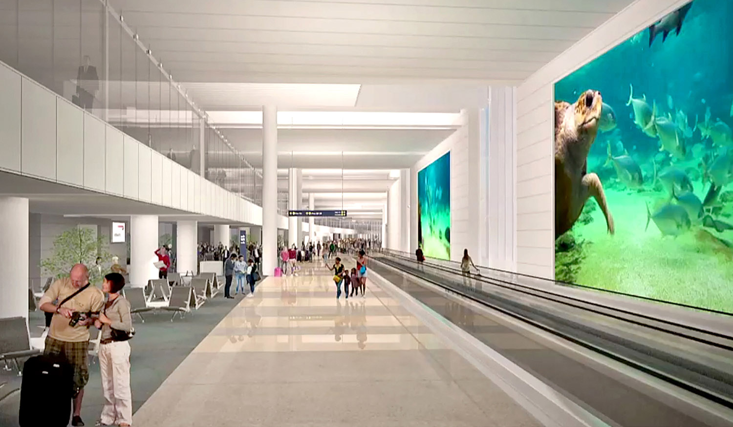 An elevated International Arrivals Corridor provides a welcoming first impression to international passengers. Fentress Architects