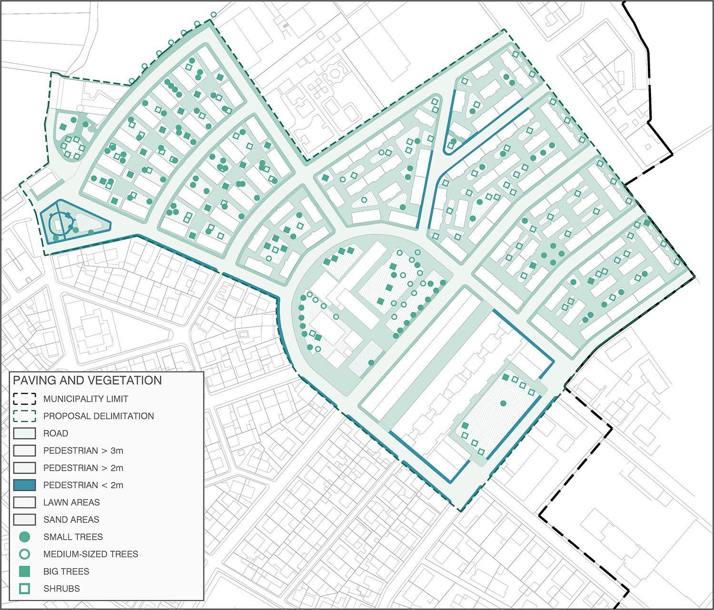 Current paving and vegetation Contextos de Arquitectura y Urbanismo}