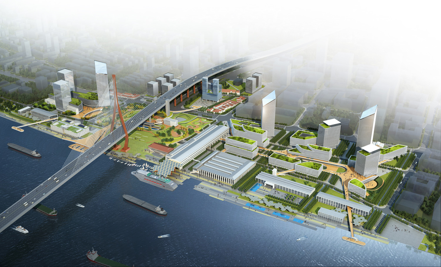 Aerial view of the Yangpu Bridge Riverside Area Abalos+Sentkiewicz AS+