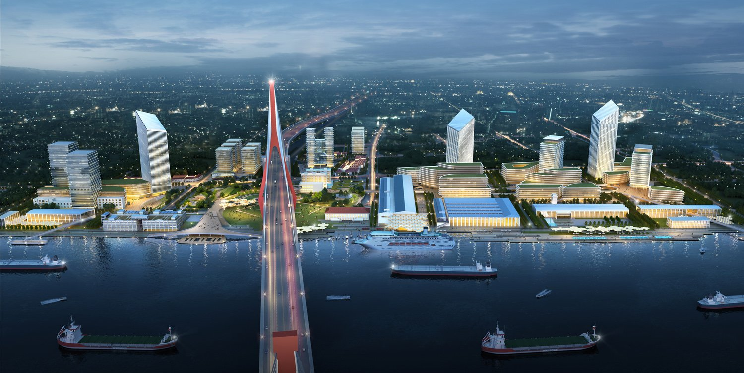 Yangpu Bridge Area Riverside Development Plan (General night view) Abalos+Sentkiewicz AS+