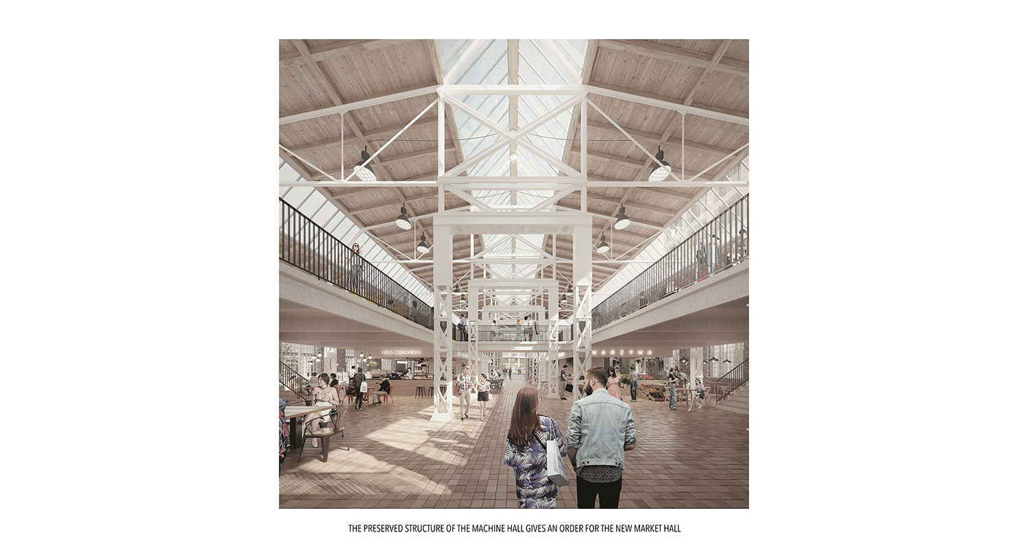 THE PRESERVED STRUCTURE OF THE MACHINE HALL GIVES AN ORDER FOR THE NEW MARKET HALL ANALOG