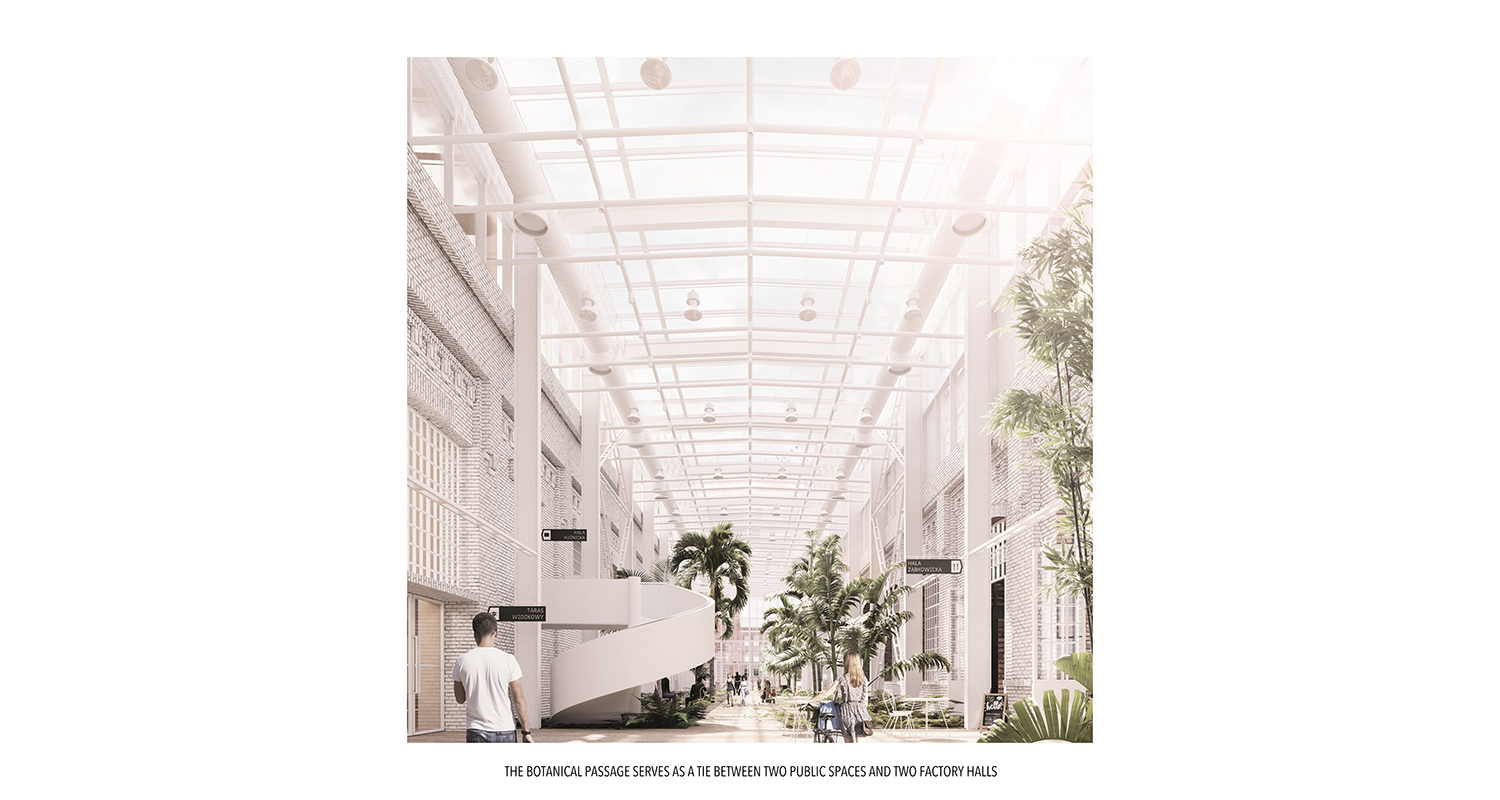 THE BOTANICAL PASSAGE SERVES AS A TIE BETWEEN TWO PUBLIC SPACES AND TWO FACTORY HALLS ANALOG