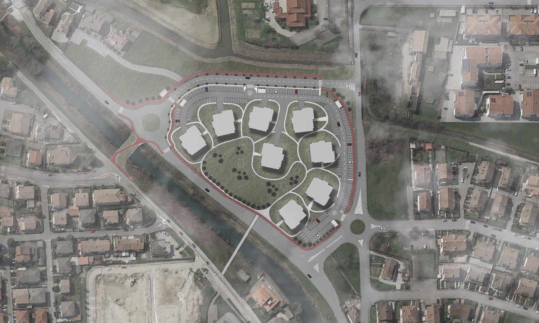 Foto aerea con inserimento planimetria di progetto - comparto A 3ndy Studio