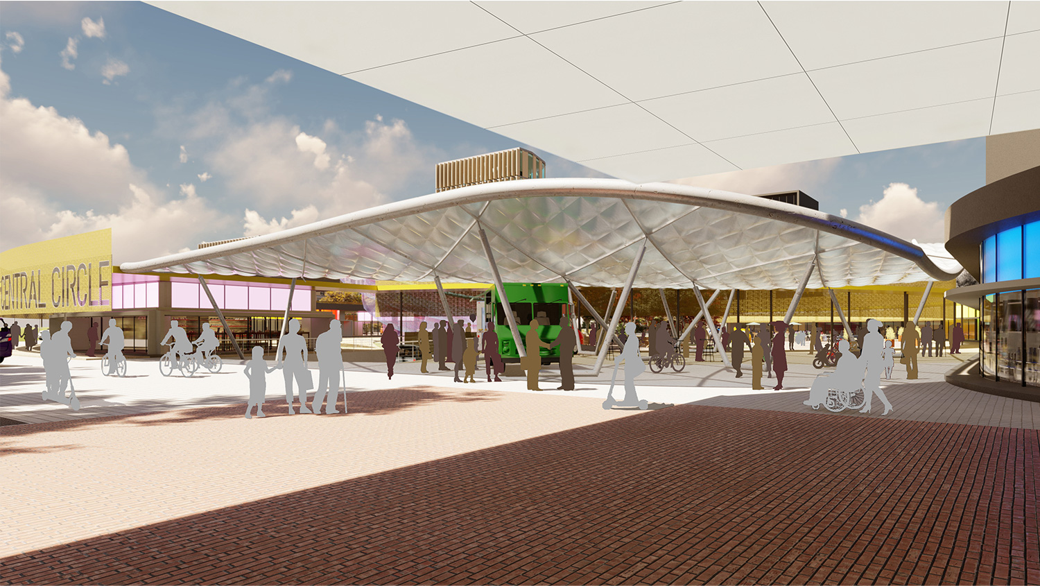 The Plaza Forecourt is an informal food court that extends the shopping area. University of Arkansas Community Design Center