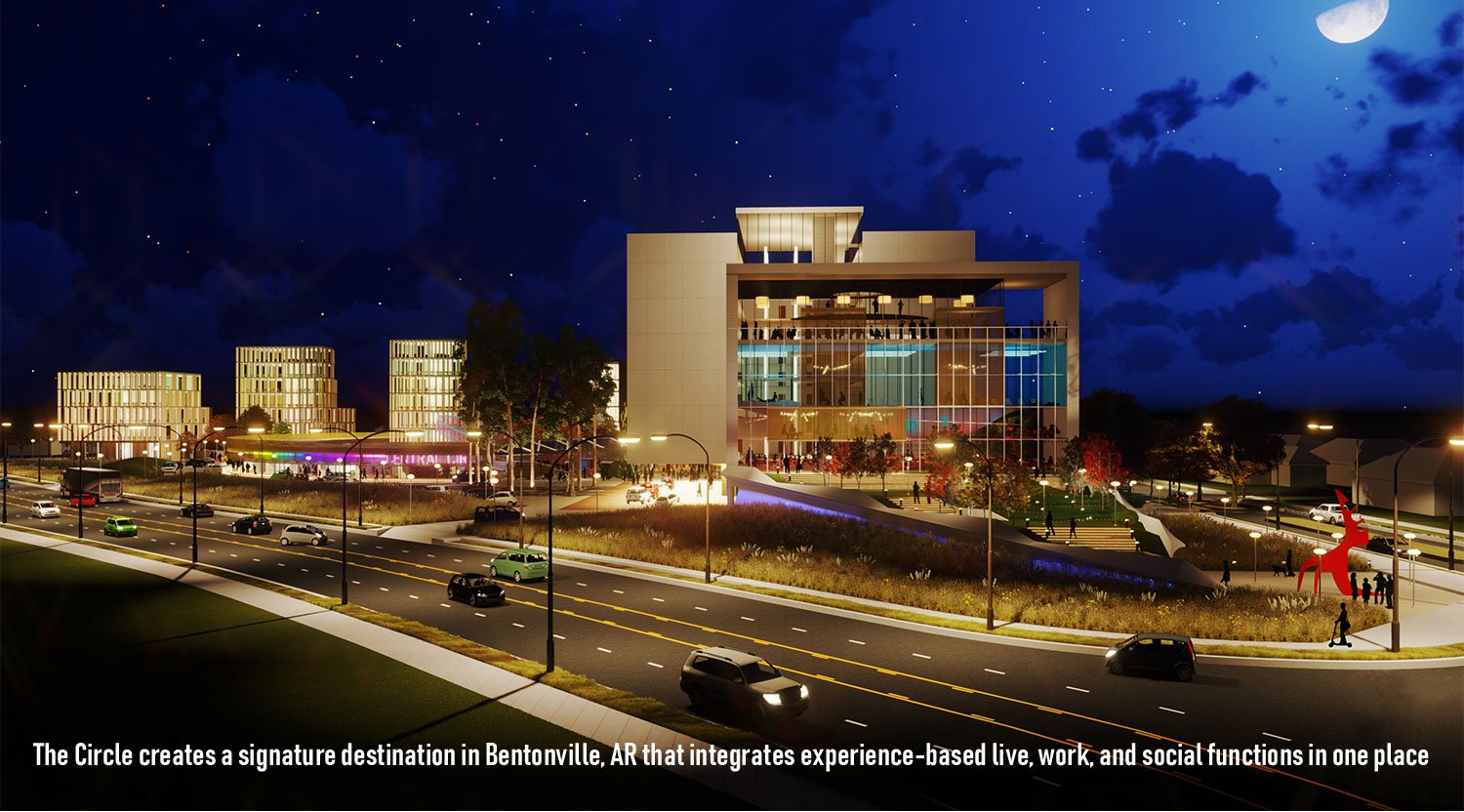 The Circle creates an experience-based mixed-use destination in a rapidly growing small town. University of Arkansas Community Design Center}
